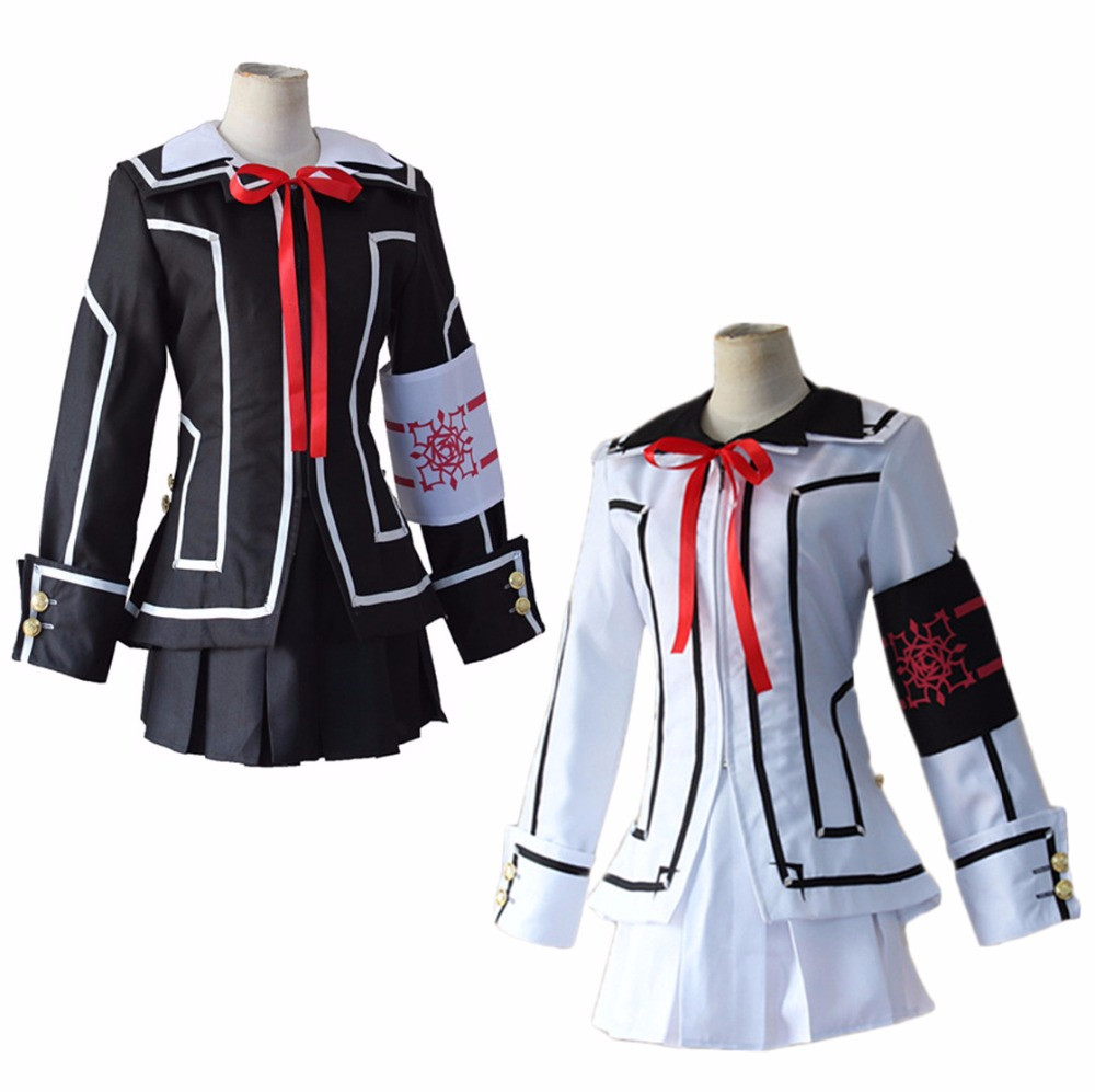 Vampire Knight Kuran Yuki School Uniform Cosplay Costume Full Set Black White Dress (Jacket + Shirt + Skirt + Bow tie + Armband)