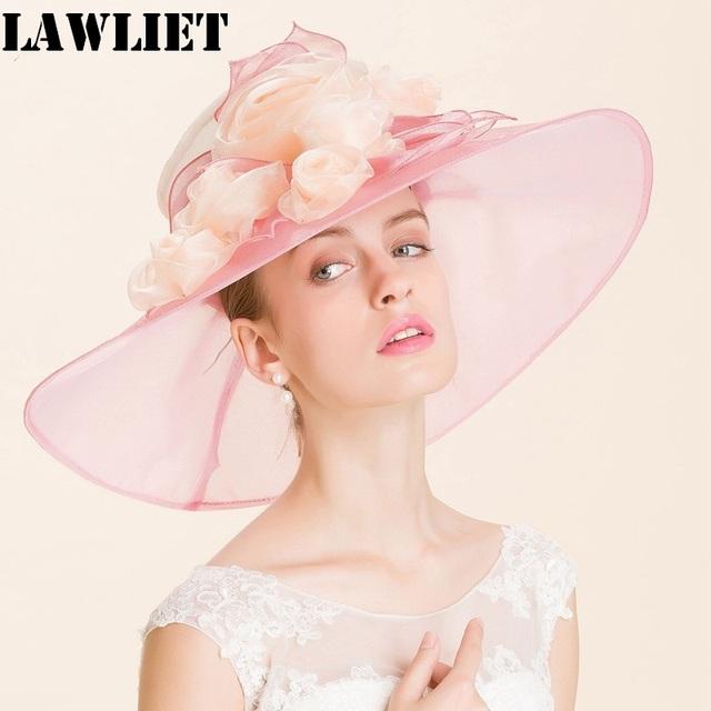 A371 Verano gran sombrero de ala playa sombreros de sun del casquillo para las mujeres protección UV sombrero de organza rosa de las mujeres sombrero de moda