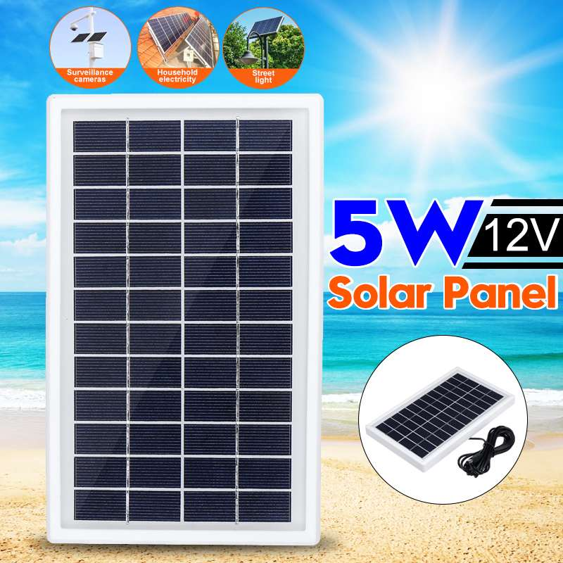 Outdoor <font><b>Solar</b></font> <font><b>Panel</b></font> <font><b>5W</b></font> <font><b>12V</b></font> <font><b>Solar</b></font> Charger <font><b>Panel</b></font> +3 Meter DC Cabel Climbing Fast Charger Polysilicon Tablet <font><b>Solar</b></font> Generator Travel image