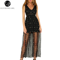 Lily Rosie Girl Mesh Embroidery Black Hollow Out Haigh Waist Women Maxi Dress Summer Party Beach
