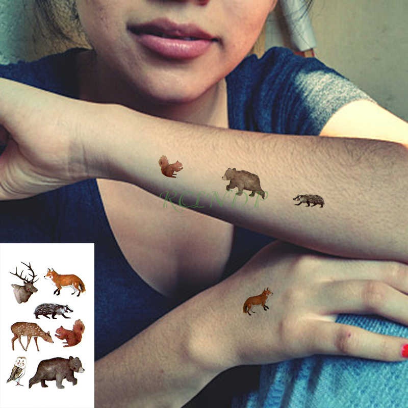 Waterproof Temporary Tattoo Sticker Animal Deer Wolf Bear Owl Squirrel Tatto Flash Tatoo Hand Fake Tattoos For Men Women Kid
