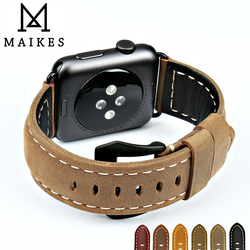 MAIKES New vintage leather watchbands for iwatch bracelet Apple watch band 44mm 40mm 42mm 38mm series 4 3 2 1 watch strap