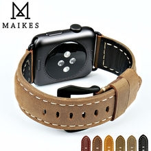 MAIKES New vintage leather watchbands for iwatch bracelet 42mm 38mm