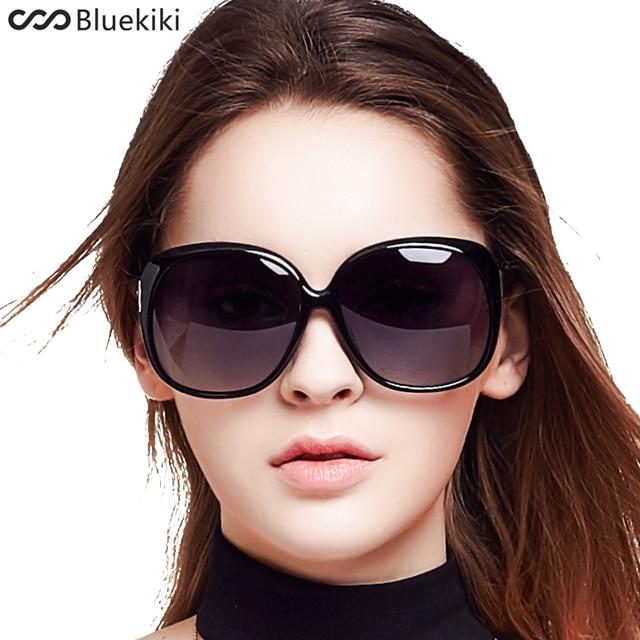 cdc5088af كيكي المرأة الاستقطاب النظارات الشمسية الرجعية كبيرة جولة PC إطار العلامة  التجارية تصميم أسود نظارات شمسية