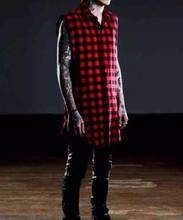 2016 Unique Design Hip hop tyga mens red Tartan plaid shirts sleeveless side zipper man extended casual bule Lattice shirt