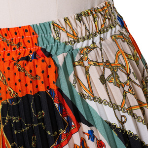 Image 4 - 2021 New Fashion High Waist Pleated Skirt Women Spring Summer Midi Skirts Womens Elastic Waist A Line Long Skirts For Women Rok