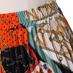 Image 4 - 2021 nowych moda wysokiej talii plisowana spódnica kobiety wiosna lato spódnice Midi kobiet w pasie linii długie spódnice dla kobiet Rok