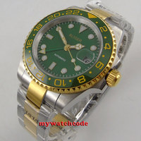 40mm Bliger green dial ceramic bezel date GMT automatic movement mens watch B285