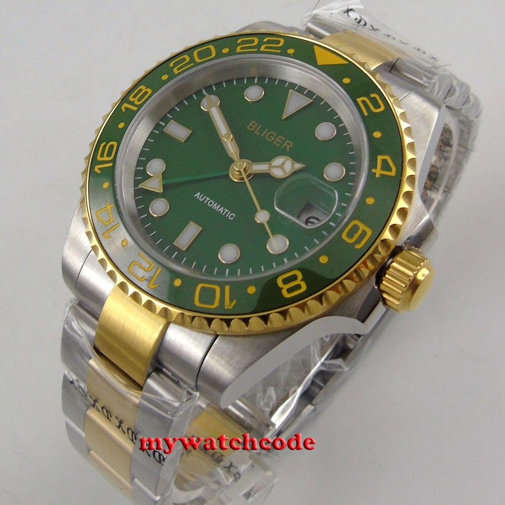 лучшая цена 40mm Bliger green dial ceramic bezel date GMT automatic movement mens watch B285