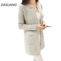 DASUANG 2017 Autumn Winter New Women Sweater Coat Casual Long Sleeve Knitted Cardigans Sweaters Fashion Loose