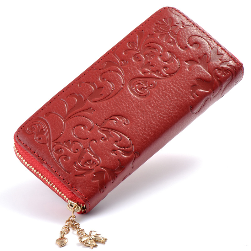 New Fashion Flower Genuine Leather Women Long Wallets High Quality Female Luxury Brand C ...