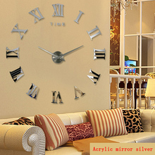 Promoción nuevo hogar Decoración espejo romano grande moda moderna relojes de cuarzo sala de estar diy Reloj de pared pegatina reloj envío gratis