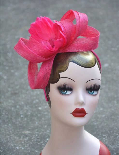 A360 Sinamay Pink Wedding Hats And Fascinators Hair Accessories Summer Fashion Floral Tiaras