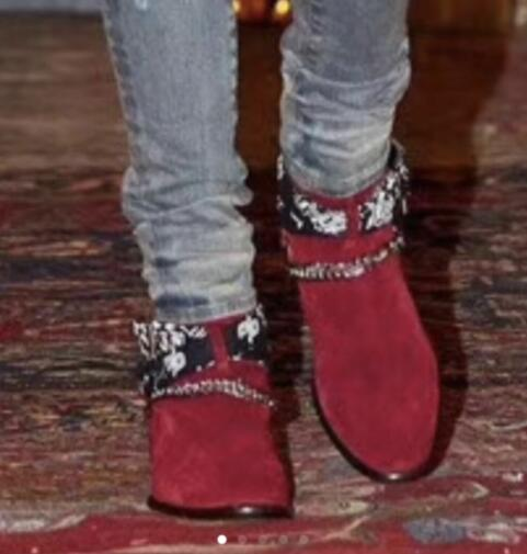 2019 FR.LANCELOT Newest Red Fashion Suede Brand Design Men Boots Ankles Botas Chains Buckles Low Heel Shoes Mens Sapatos Mujer