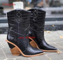 Blue Black PU Leather Cowboy Ankle Boots for Women Wedge Chunky High Heel Mid-calf Snake Print Western Cowgirl 2019