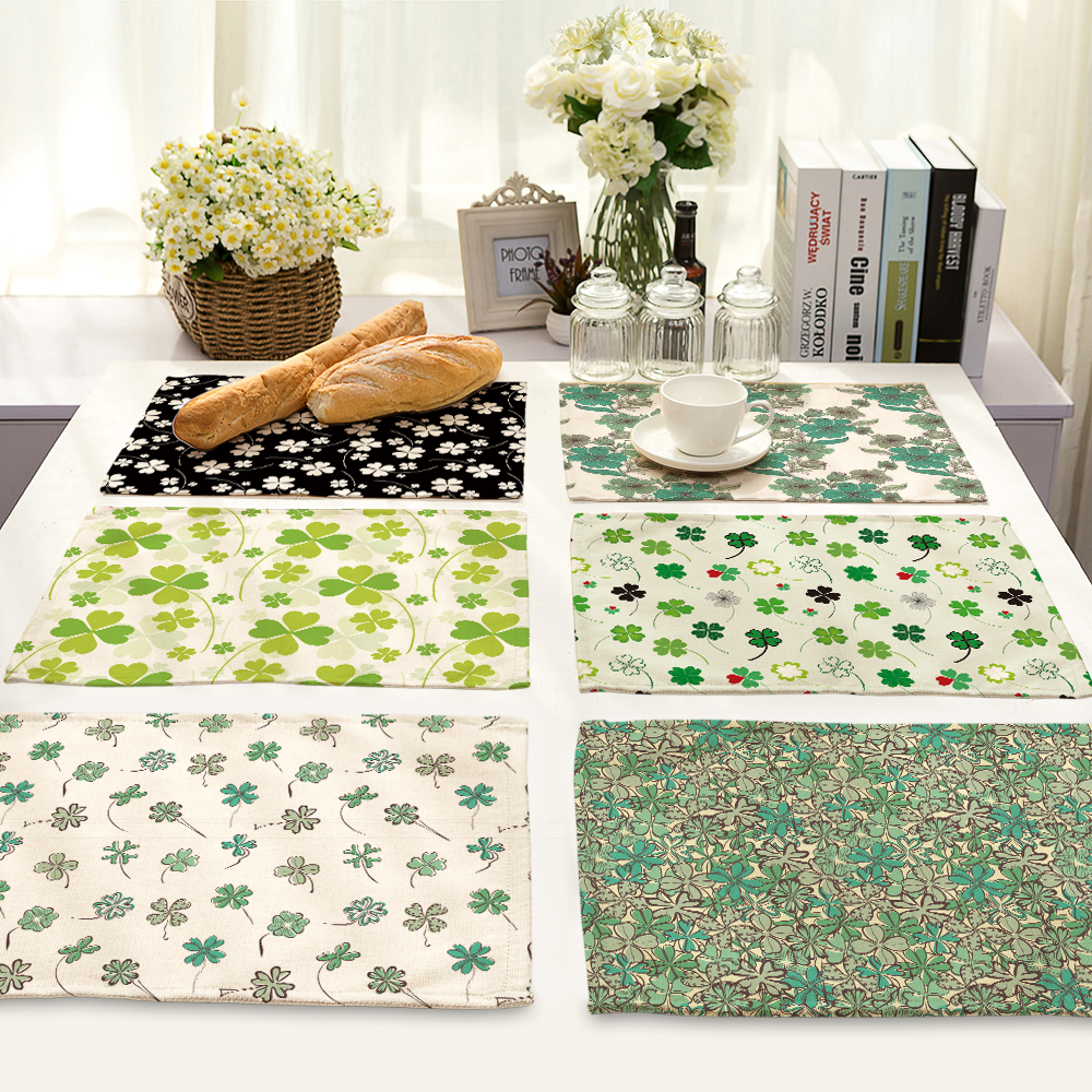 lovely Four-leaf clover Pattern Table Mat Animal Table Napkin Placemat Kitchen Decoration Dining Accessories 42x32cm MP0015