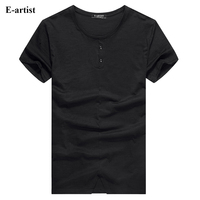 E artist Men's Casual Solid 2 Buttons O Neck Cotton T Shirts Male Slim Fit Tees Tops for Spring Summer Plus 7XL Size T730