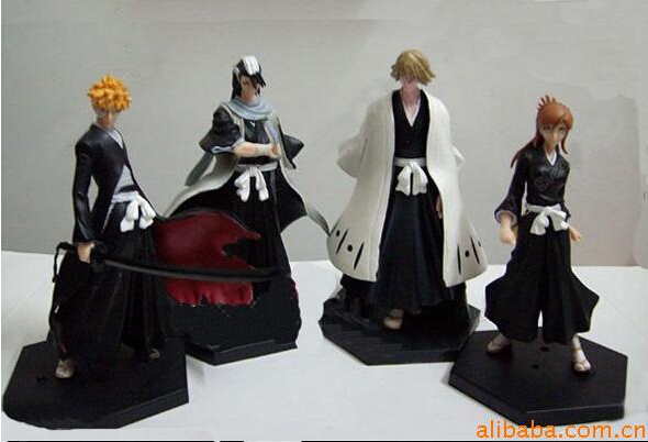 4pcs/set Bleach Kurosaki Ichigo Kuchiki Byakuya Action Figures Anime PVC brinquedos Collection Figures toys Kids Birthday gifts