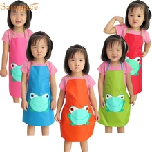 OUSSIRRO lovely pet  1PC Kids Children Waterproof Frog Print Apron Paint Eat Drink Outerwear oct102