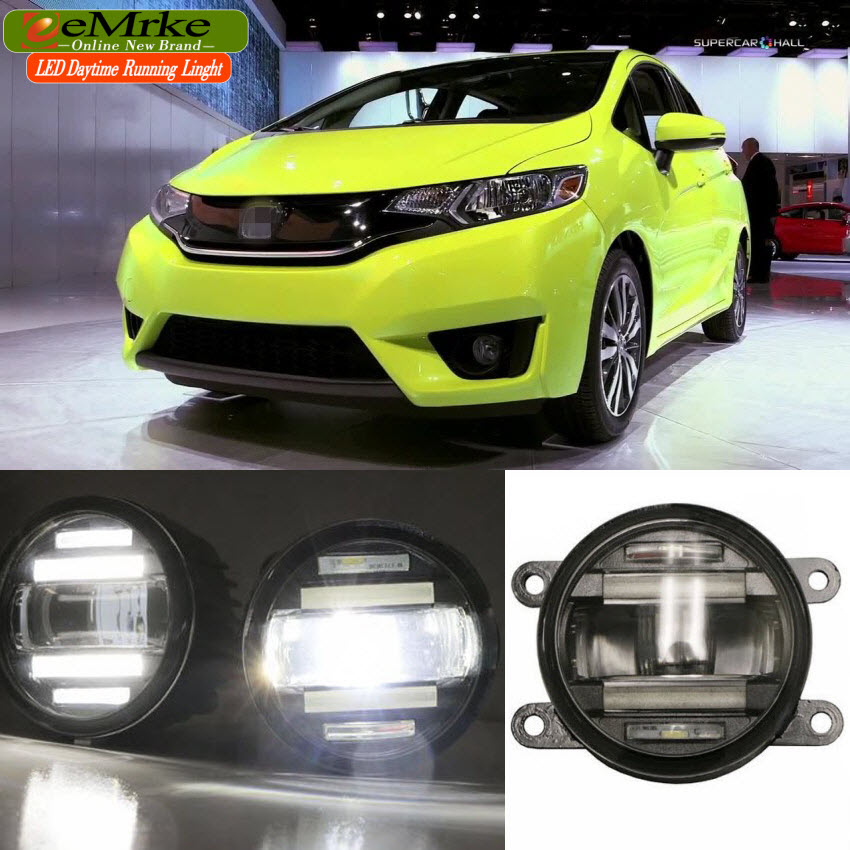 eeMrke Car Styling For Honda Jazz Fit 2014 2015 2016 2 in 1 LED Fog Light Lamp DRL With Lens Daytime Running Lights eemrke car styling for opel zafira opc 2005 2011 2 in 1 led fog light lamp drl with lens daytime running lights