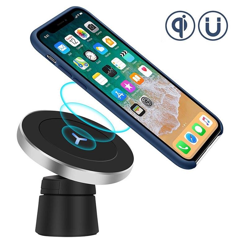 QI coche magnético cargador inalámbrico para Iphone 8 Iphone X Samsung S8 S8 más S9 Nota 8 Dashboard aire ventilación cargador titular