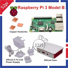 Discount! Raspberry Pi 3 Model B with Official 5.1V 2.5A Power Supply + Official ABS Enclosure Case Box Shell + Copper Heatsinks