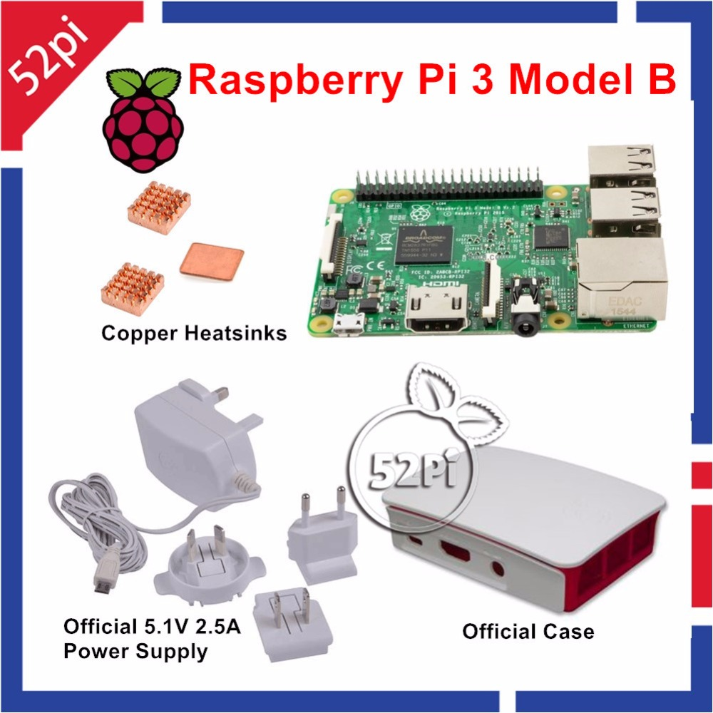 Raspberry Pi 3 Model B with Official 5.1V 2.5A Power Supply + Official ABS Enclosure Case Box Shell + Copper Heatsinks transparent acrylic case protective shell cover box with mini cooling fan for raspberry pi 2 3 model b and b b plus board