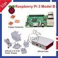 Raspberry Pi 3 Modelo B com Oficial 5.1 V 2.5A Poder alimentação + Oficial Gabinete ABS Caixa Caso Shell + Cobre dissipadores de calor