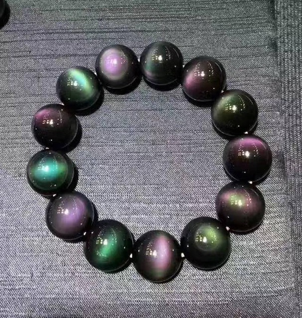 Bracelet extensible de perles rondes de pierre gemme darc-en-ciel dobsidienne noire naturelle 14 mm AAAA