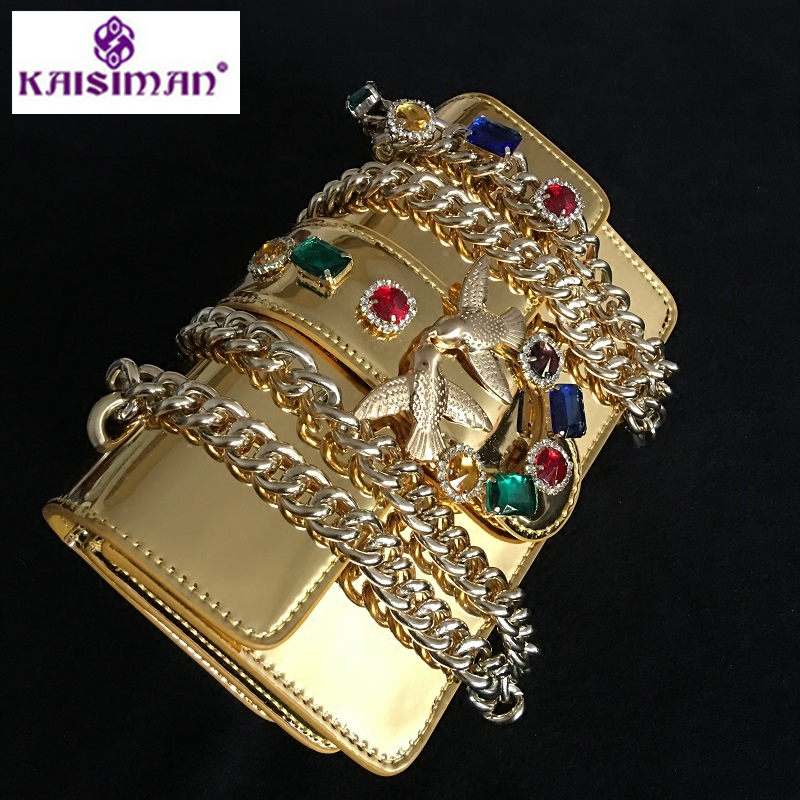 Lady Messenger Bags Gold Diamond Chain Strap Golden Glossy Genuine Leather Handbags Fancy Diamond Rivet Pearl Chain Shoulder Bag цена 2017