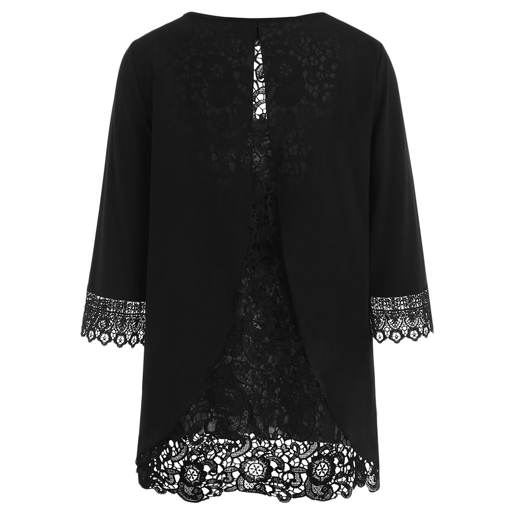 1097cefe89cfd Wipalo Plus Size 5XL Solid Lace Trim Split Back Tunic T Shirt Casual Three  Quarter Sleeve Scoop Neck Tee Top Big Size Women Tops-in T-Shirts from  Women s ...