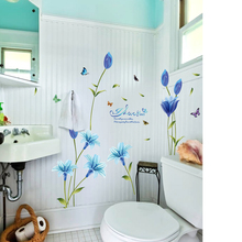 fundecor blue lily wall stickers home decor living room