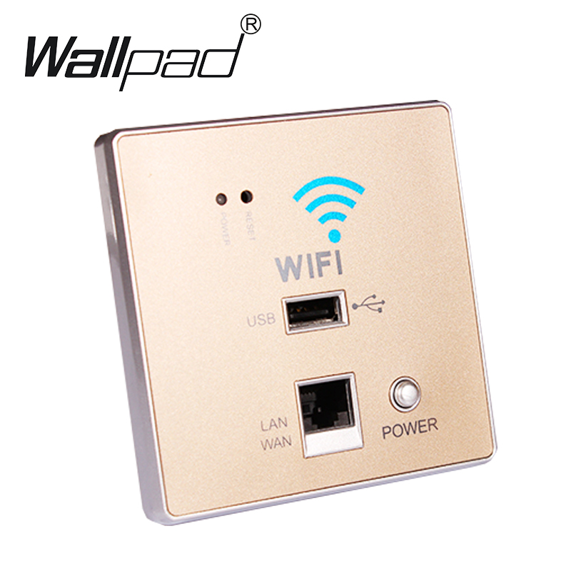 300M Gold Color USB Charging Wall Socket Panel,Wall Embedded Wireless AP Router USB Socket WiFi Socket 110-250V