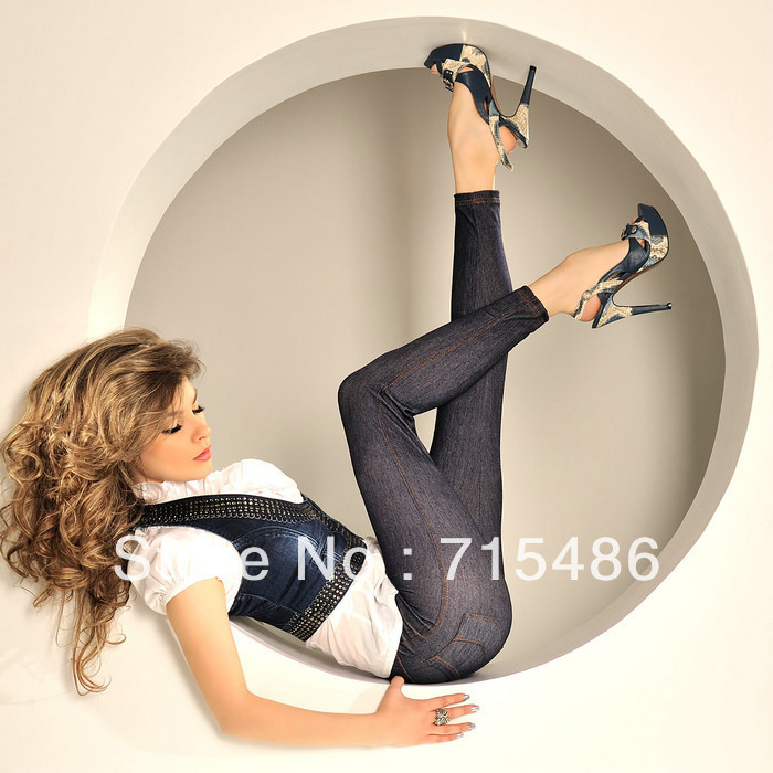 Hot selling Free Shipping 2 Available Color Black and Blue Women's Leggings Simple Fashion Blue Jean Jeggings