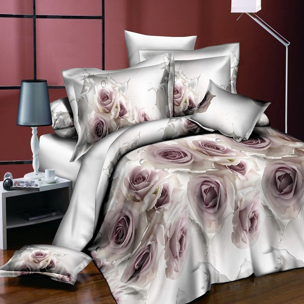 Quilt Duvet Cover Pillow Case Twin Queen 3D Bedding Set Elegant Flowers Print Household adult breathable and comfortable fabric