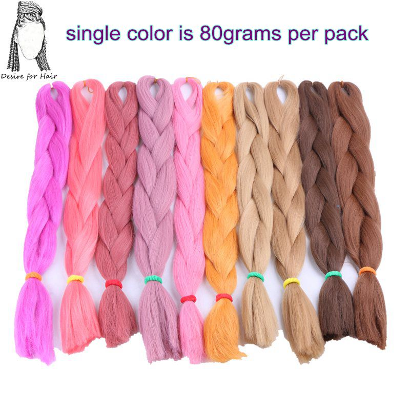 Desire for hair 1 pack 24 inch 100 grams ombre color heat resistant synthetic jumbo braiding hair for box braids making