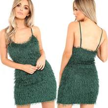 2018 nueva llegada del verano mujeres niñas Sexy moda camello terciopelo  Sling vestido Mini discoteca fiesta vestido de baile f09d846acb1