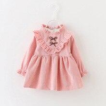 Горячая распродажа! новая осенняя одежда платье для малышей из хлопка платье принцессы платье с бантом От 1 до 3 лет-пачка для девочек