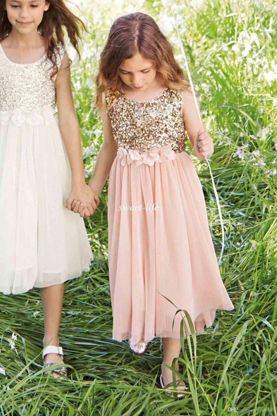 Sequin Tulle Short Sleeve Flower Girl Dress Juniors Girls Dresses