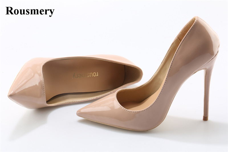 Women Classical Design Pointed Toe Black Nude Patent Leather Pumps Brand Shoes 10cm 12cm Formal High Heels Cheap Wedding Shoes top brand women fashion open toe platform patent leather pumps red nude black formal dress high heels shoes big size 35 46