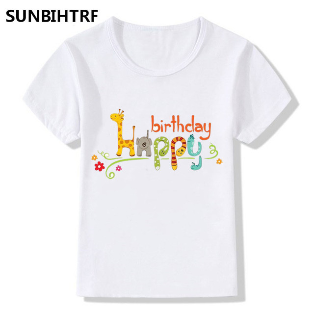 2018 Cartoon Art Word Happy Birthday Print T Shirts Kids Summer Tops Big Girls Boys Short Sleeve Shirt Baby Clothes