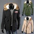 Тепловой утолщение меховой воротник плюс размер любителей пальто верхней одежды средней длины знак