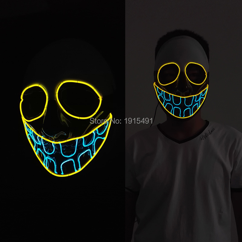 ФОТО LED Mask Halloween teeth Mask Flashing EL wire Glowing Flexible LED Strip Neon light For dance DJ Carnival Decorativas