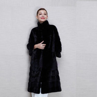 NAGODO Long Mink Faux Fur Coats Women Black Fox Fake Fur OverCoat Ladies Female Winter Wear