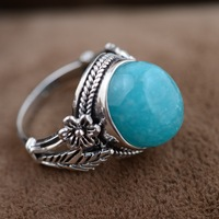 Amazonite ring silver wholesale S925 silver inlaid antique style simple silver flower type female