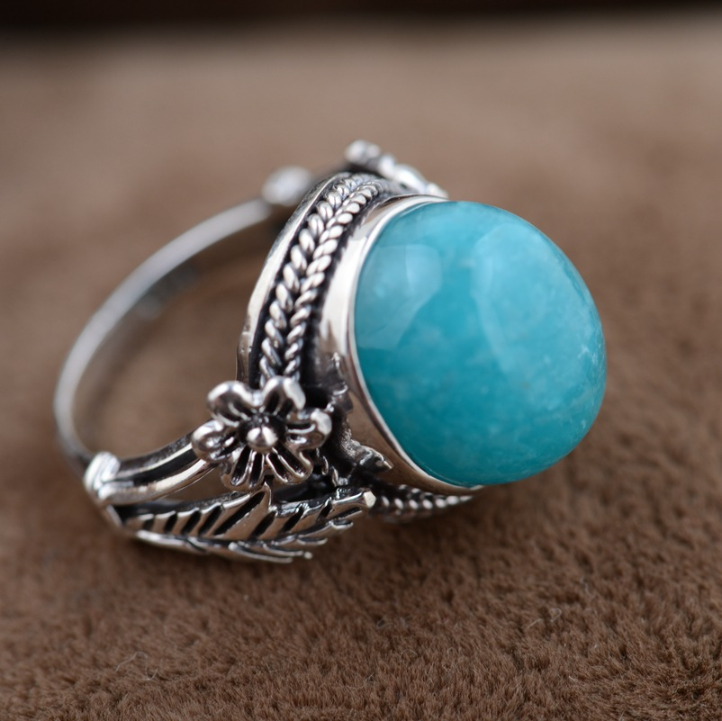 Amazonite ring silver wholesale S925 silver inlaid antique style simple silver flower type female s925 silver antique style men open world peace ring