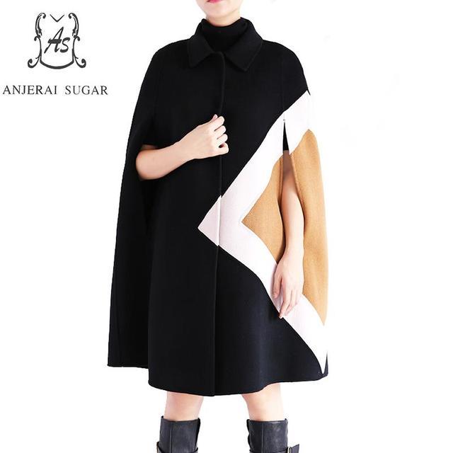 Winter frauen doppelseitigen kaschmirwolle mantel sexy schwarze ...