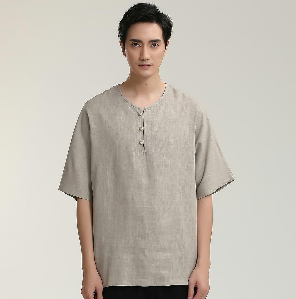 Casual Loose Gray Men Cotton Linen Short Sleeve Shirt Chinese Style Male Summer Collarless Leisure Tops M L XL XXL XXXL 2714