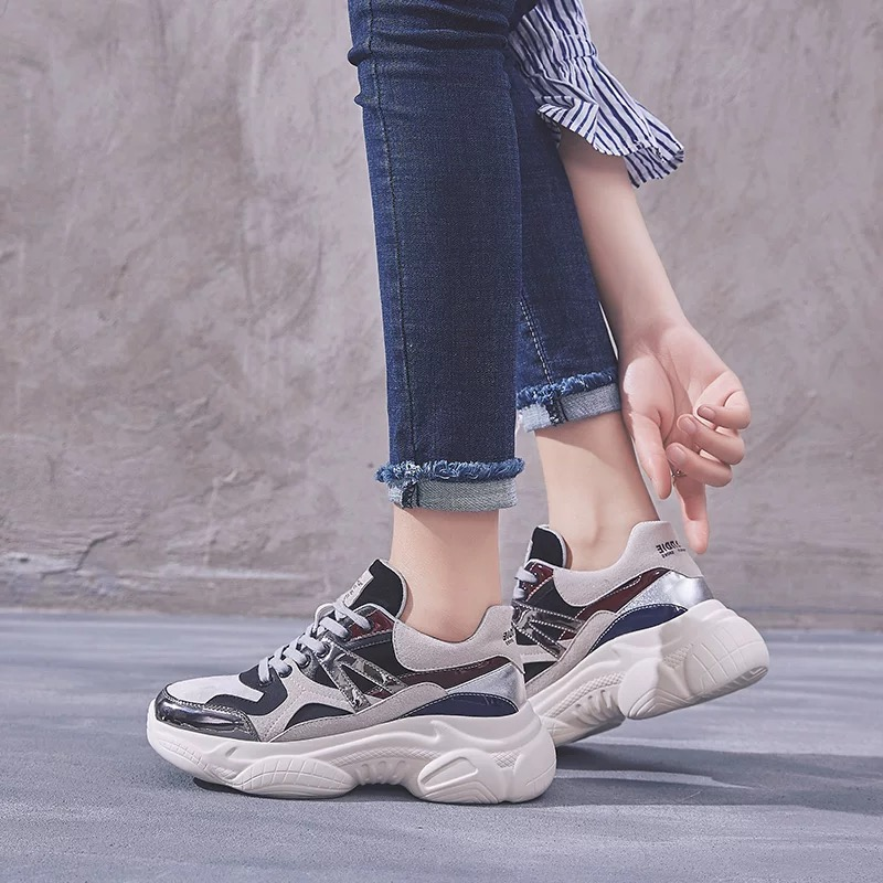 Dumoo 2019 Spring Sneakers Shoes Women Fashion Casual Heel 4cm Platform Ladies Running Shoes Female Zapatillas