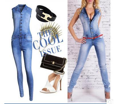 dámské kalhoty Jumpsuits jeans Kalhoty dlouhé kalhoty Dámské sexy džíny dlouhé sexy bez rukávů hluboké V límec modrý štíhlý styl.JN52